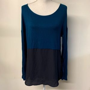Meadow Rue Anthro Teal Gray Color Block Top